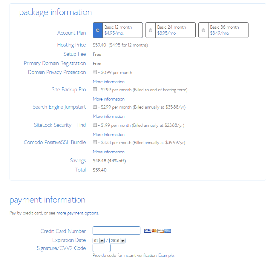 bluehost-package-selection