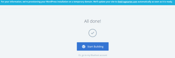 wordpress install complete - Beginners Guide- Setting up a Blog Using Bluehost Hosting