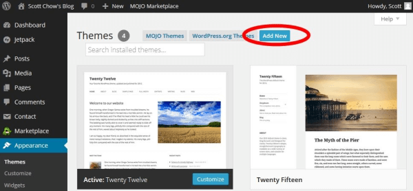 wordpress theme install 3 - Beginners Guide- Setting up a Blog Using Bluehost Hosting