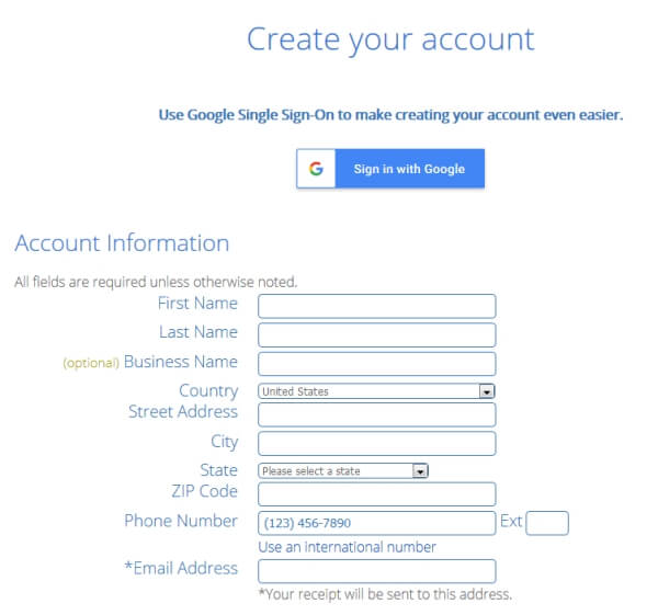 Create an account for your new blog