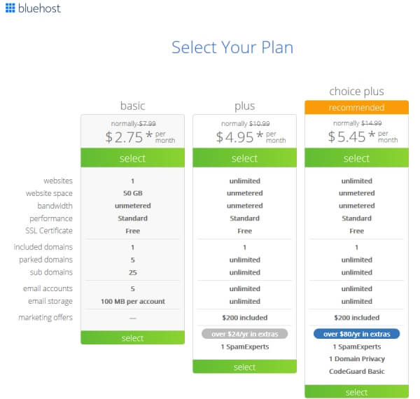 To start your blog, pick a hosting plan from Bluehost